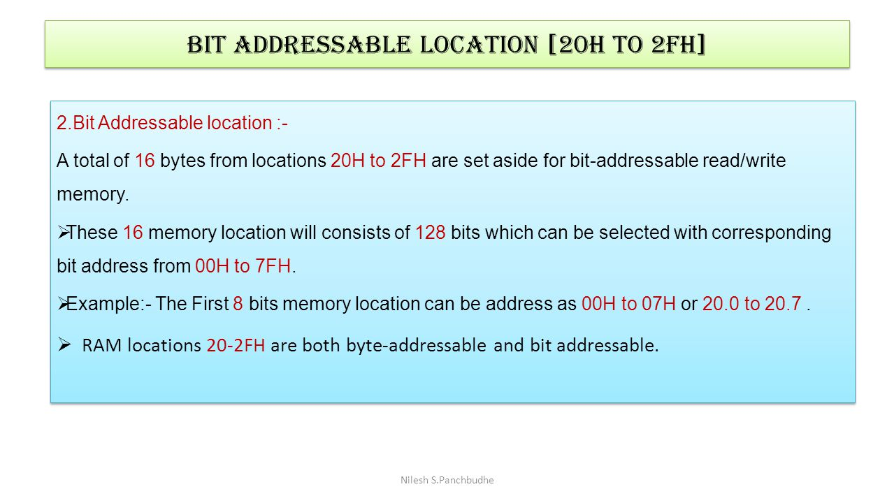 Bit Addressable location [20h to 2fh]